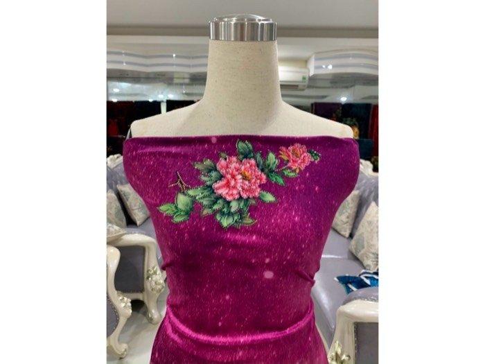 Vải áo dài nhung đính đá 9203-52 của vải áo dài Kim Ngọc2