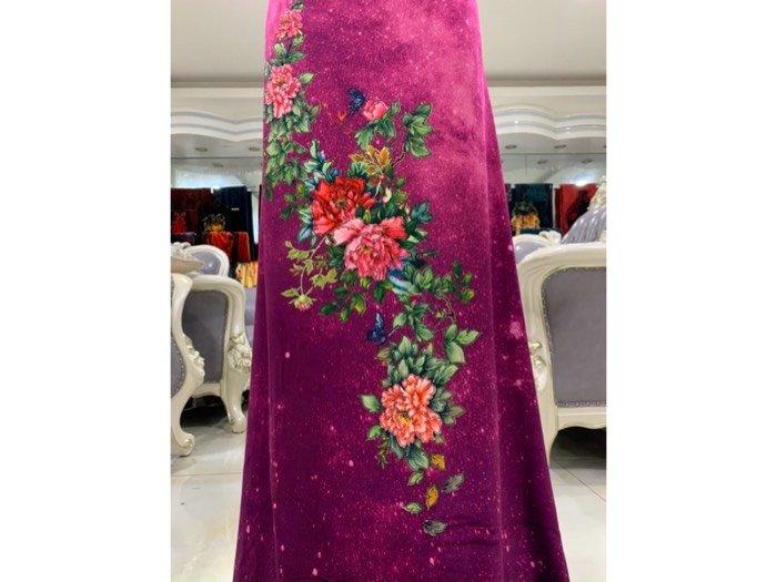 Vải áo dài nhung đính đá 9203-52 của vải áo dài Kim Ngọc3