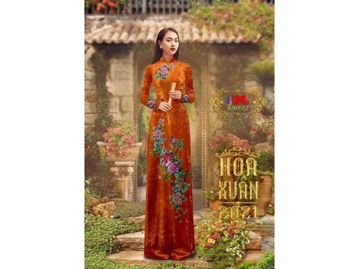 Vải áo dài nhung đính đá 9203-22 của vải áo dài Kim Ngọc0