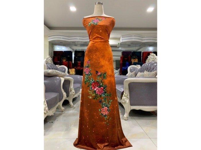 Vải áo dài nhung đính đá 9203-22 của vải áo dài Kim Ngọc1