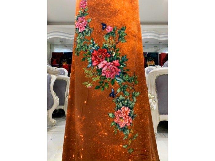 Vải áo dài nhung đính đá 9203-22 của vải áo dài Kim Ngọc3