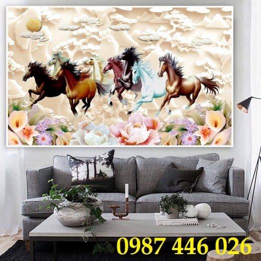 Gạch tranh ngựa 3d, tranh gạch men ốp tường HP74511