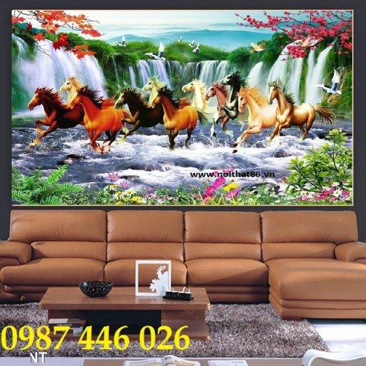 Gạch tranh ngựa 3d, tranh gạch men ốp tường HP74510