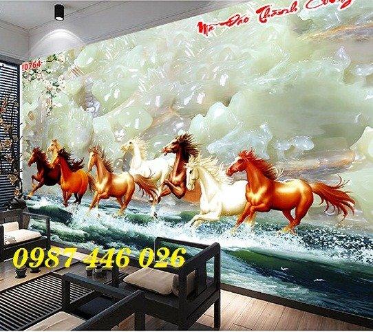 Gạch tranh ngựa 3d, tranh gạch men ốp tường HP7459