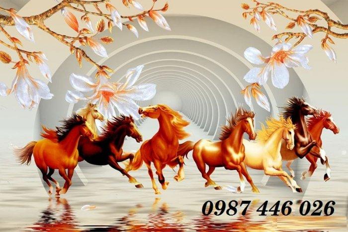 Gạch tranh ngựa 3d, tranh gạch men ốp tường HP7458