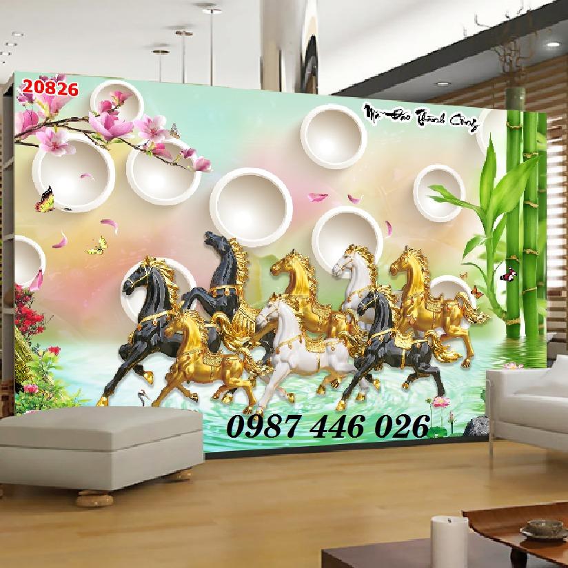Gạch tranh ngựa 3d, tranh gạch men ốp tường HP7456