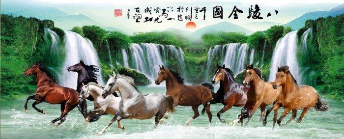 Gạch tranh ngựa 3d, tranh gạch men ốp tường HP7455