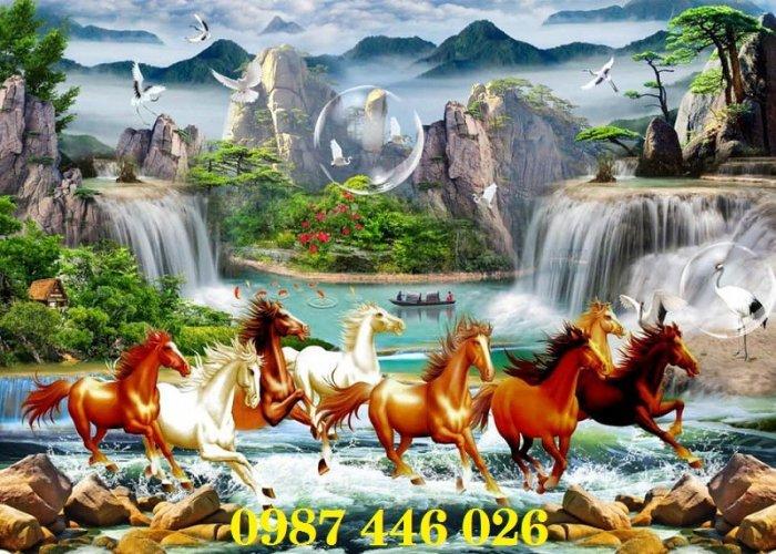 Gạch tranh ngựa 3d, tranh gạch men ốp tường HP7452