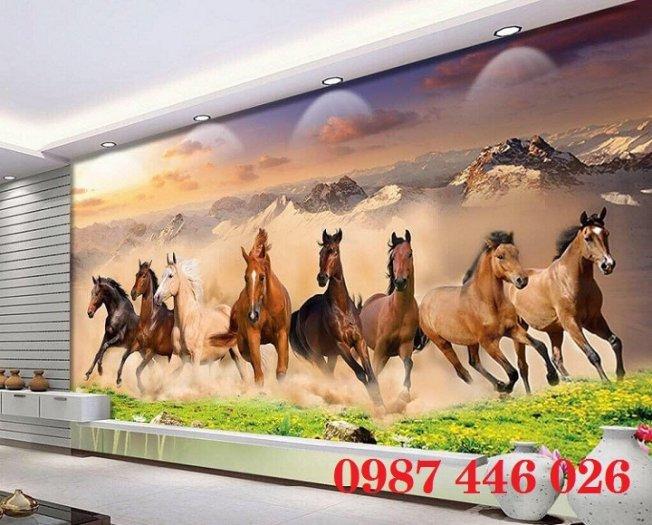 Gạch tranh ngựa 3d, tranh gạch men ốp tường HP7451