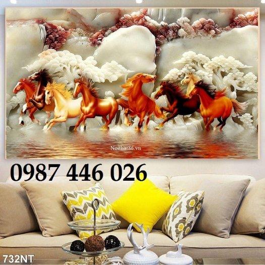 Gạch tranh ngựa 3d, tranh gạch men ốp tường HP7450