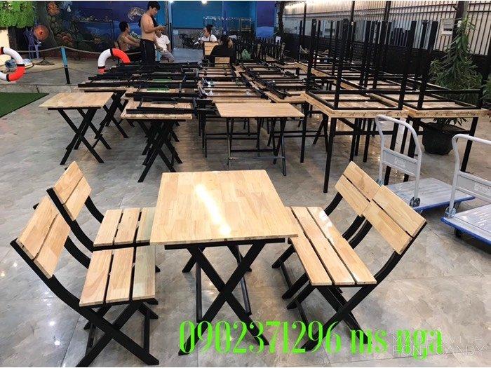 Bộ bàn ghế gỗ xếp quán ăn giá rẻ I nội thất Nguyễn hoàng0