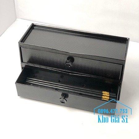Hồ Chí Minh - Cung cấp hộp đũa 2 tầng màu đen cho nhà hàng quán ăn0