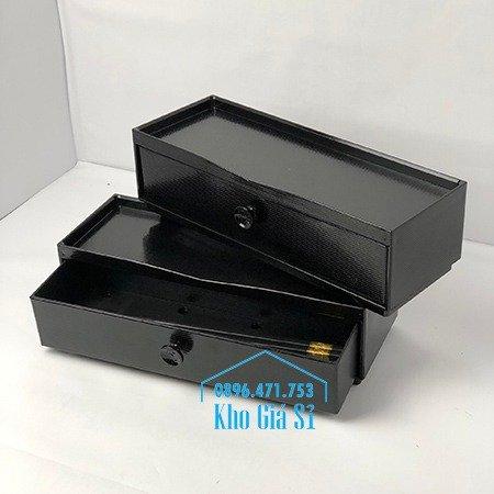 Hộp đựng đũa muỗng nhà hàng quán ăn - Hộp đựng đũa bằng nhựa màu đen, màu nâu cánh dán - HCM32
