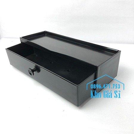 Hộp đựng đũa muỗng nhà hàng quán ăn - Hộp đựng đũa bằng nhựa màu đen, màu nâu cánh dán - HCM24