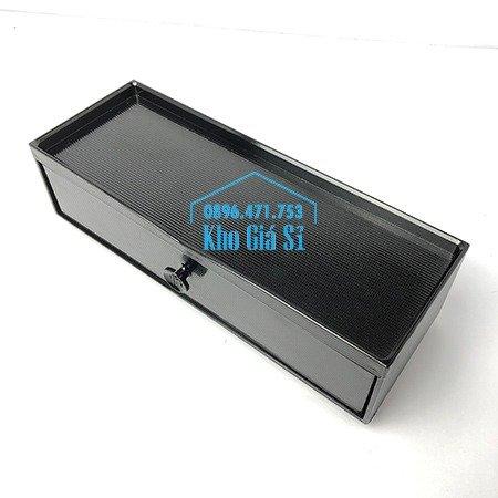 Hộp đựng đũa muỗng nhà hàng quán ăn - Hộp đựng đũa bằng nhựa màu đen, màu nâu cánh dán - HCM21