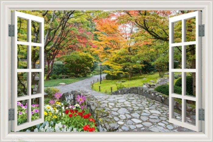 Tranh gạch 3d dán tường vườn hoa - CBV458