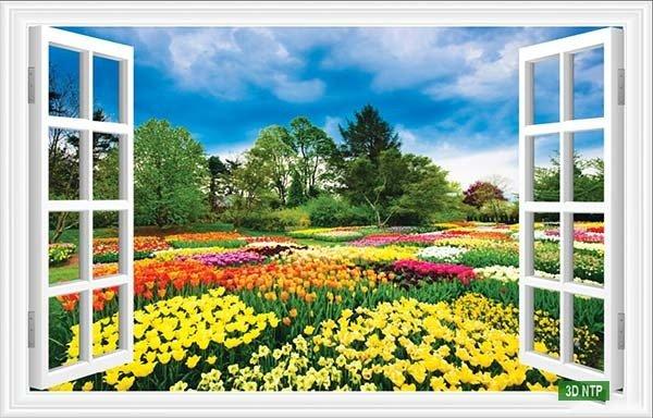 Tranh gạch 3d dán tường vườn hoa - CBV452