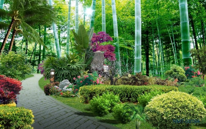 Tranh gạch 3d dán tường vườn hoa - CBV451