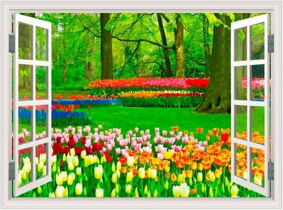 Tranh gạch 3d dán tường vườn hoa - CBV450