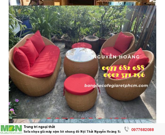 Sofa nhựa giả mây nệm lót nhung đỏ  Nội Thất Nguyễn Hoàng Sài Gòn