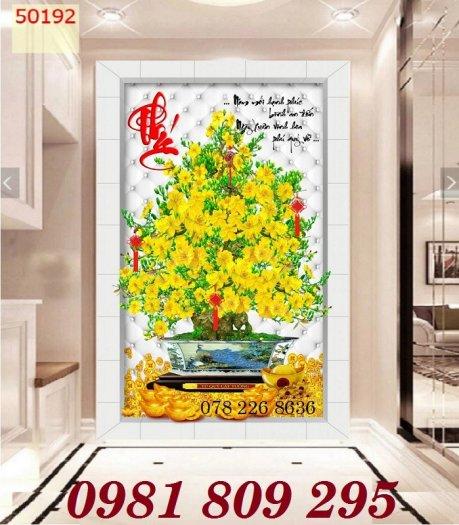 Gạch tranh 3d hoa mai câu đối , cây mai vàng