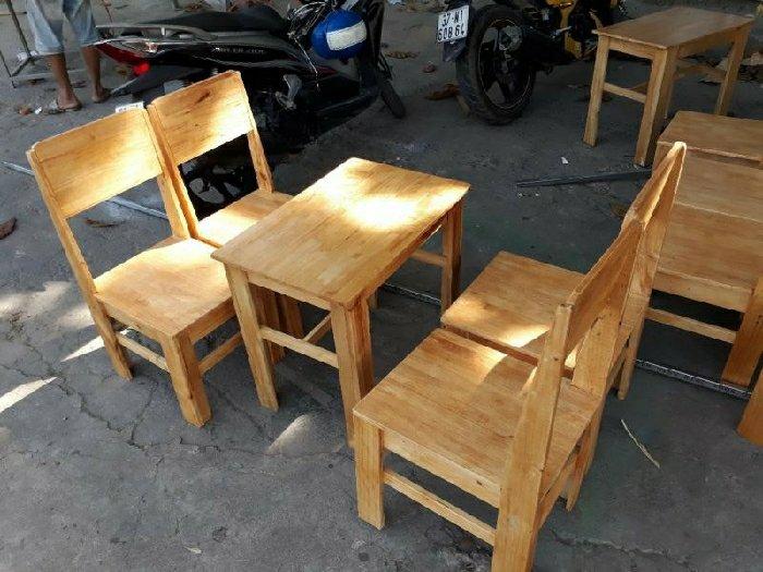 Bộ bàn ghế gỗ có lưng tựa quán cóc Ak0090