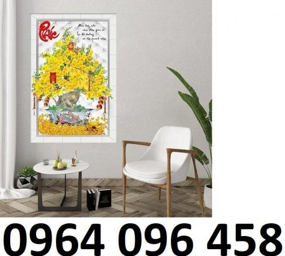 Tranh gạch cây mai 3d phòng khách - CBB09