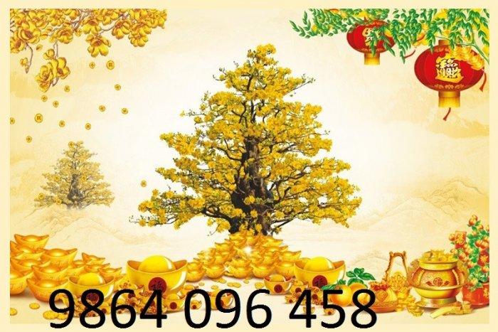 Tranh dán tường 3d cây tiền vàng - VBB66