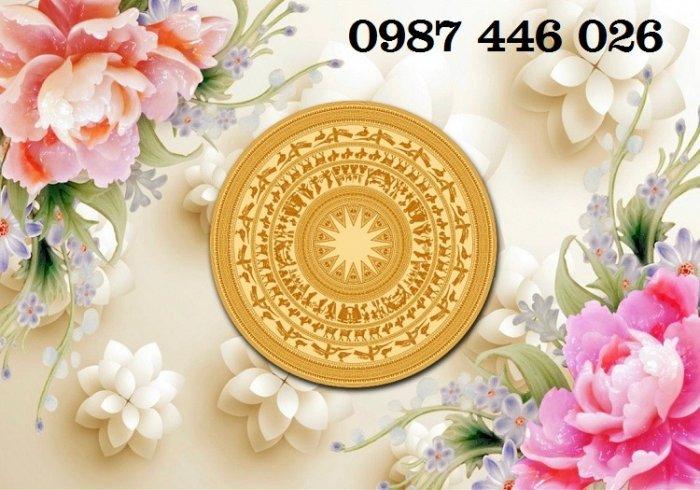 Gạch tranh 3d hoa mẫu đơn Trống đồng HP478650