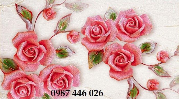 Tranh gạch men hoa 3d ốp tường HP060929