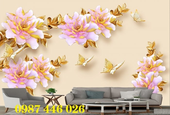 Tranh gạch men hoa 3d ốp tường HP060926