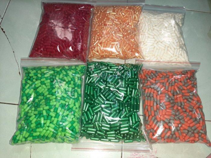 Vỏ nang rỗng nhiều màu, vỏ nhộng cứng, vỏ nhộng đóng bột giảm cân, vỏ nang gelatin size 00