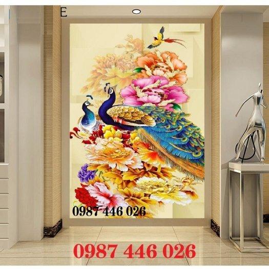 Gạch tranh chim công 3d ốp tường HP7548