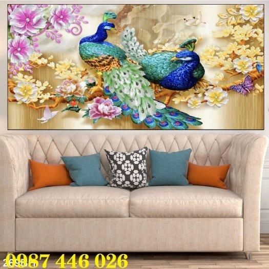 Gạch tranh chim công 3d ốp tường HP7546