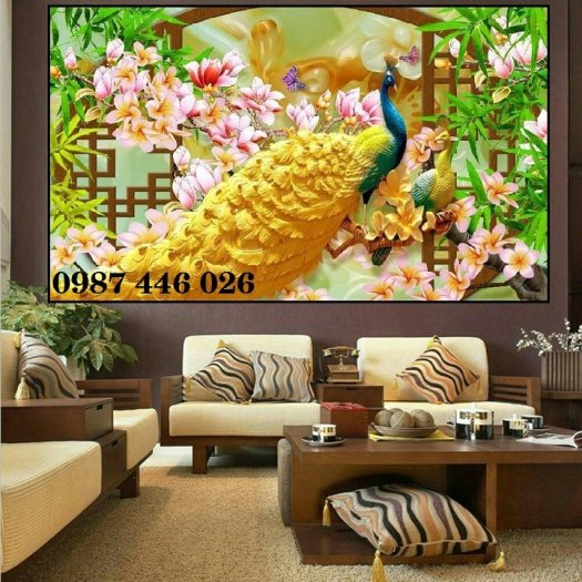 Gạch tranh chim công 3d ốp tường HP7544