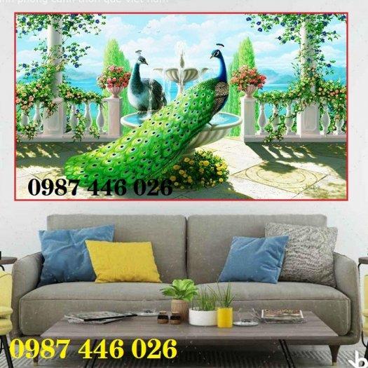 Gạch tranh chim công 3d ốp tường HP7540