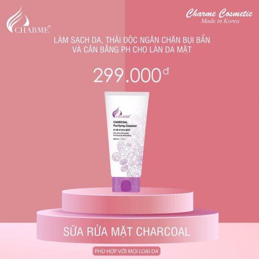 Sữa Rửa Mặt Than Hoạt Tính Trắng Da Ngừa Mụn Charme Charcoal Hàn Quốc 100ml0