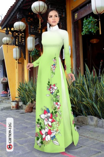 Vải áo dài hoa đẹp GH 78396