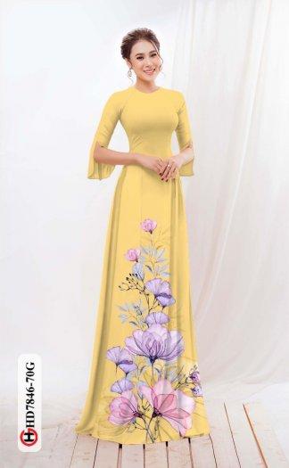 Vải áo dài hoa đẹp được thiết kế đôc đáo của Vải Áo Dài Kim Ngọc HD 784613