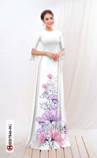 Vải áo dài hoa đẹp được thiết kế đôc đáo của Vải Áo Dài Kim Ngọc HD 78467