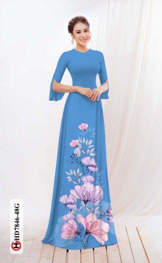 Vải áo dài hoa đẹp được thiết kế đôc đáo của Vải Áo Dài Kim Ngọc HD 78462