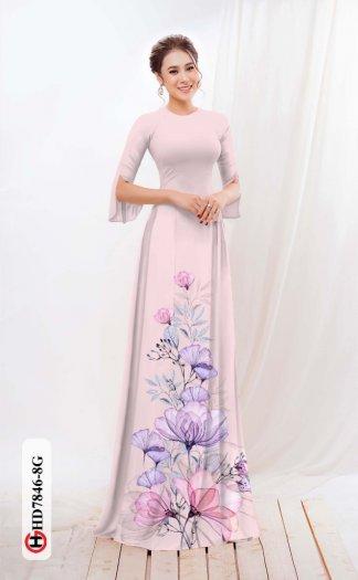Vải áo dài hoa đẹp được thiết kế đôc đáo của Vải Áo Dài Kim Ngọc HD 78461