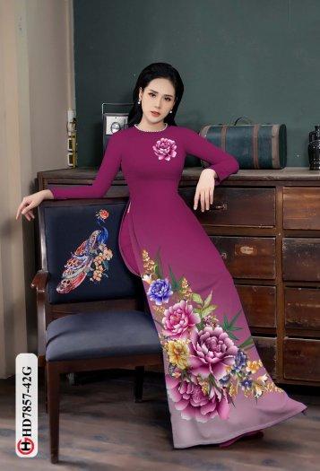 Vải áo dài in hình mẫu đẹp hd 78576