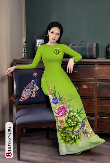 Vải áo dài in hình mẫu đẹp hd 78572