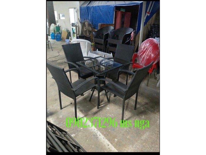 Bộ bàn ghế nhựa giả mây khung sắt cafe0
