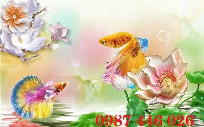 Gạch tranh cá chép 3d HP06923