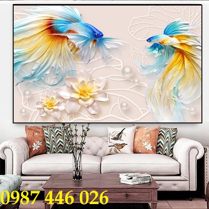 Gạch tranh cá chép 3d HP06922