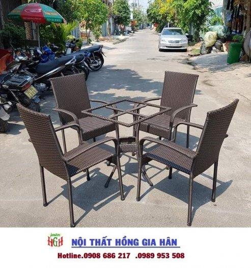 Bàn ghế cafe mây nhựa gia rẻ HGH 33