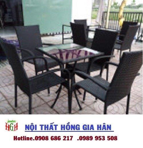 Bàn ghế cafe mây nhựa gia rẻ HGH 32