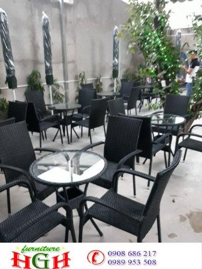 Bàn ghế cafe mây nhựa gia rẻ HGH 31